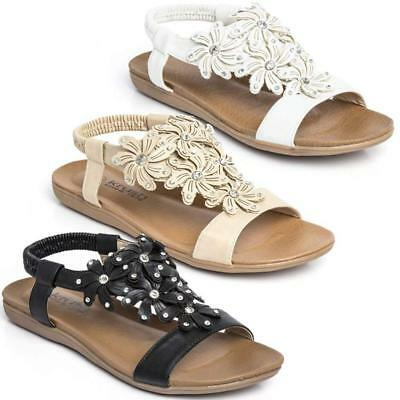 Womens Ladies Flat Low Wedge Summer Beach Fashion Sandals Shoes Sizes 3-8
