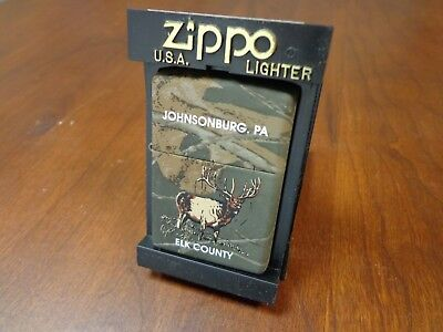 Realtree Hardwoods Elk County Johnsonburg Pa Elk Zippo Lighter Mint In Box 2002