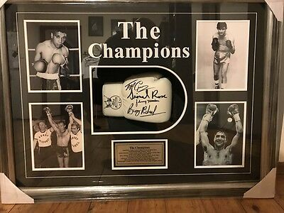 Autographed Boxing Glove signed by 4 Former World Champions framed