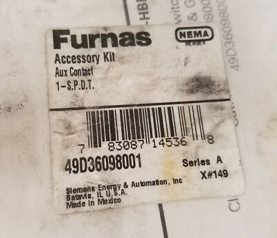 Furnas Auxiliary Contact Kit-New in Bag 49D36098003 Electrical HVAC 61616
