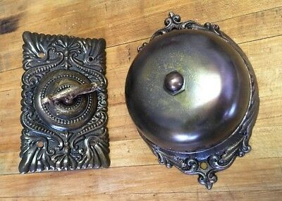 Vintage Brass Authentic Mechanically Operated Doorbell Victorian