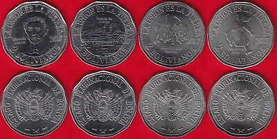 """Bolivia set of 4 coins: 2 bolivianos 2017 """"Territorial claims, Chile"""" UNC"""