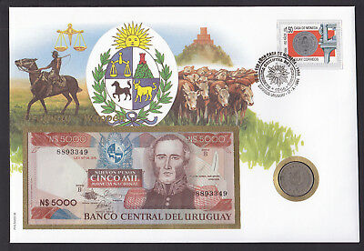 Uruguay coin & bank note cover 1994 postmark Horseman Cattle cachet & Banknote