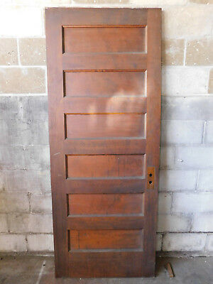 Antique Victorian Interior Five Panel Door - 1900 Walnut Architectural Salvage