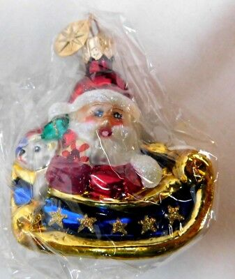 "Christopher Radko Ornament ""Now Dash Away"" All Gem #005240 Santa Sleigh-SEALED"