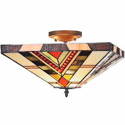 NEW Red Jewelled Square Geometric Ceiling Lamp