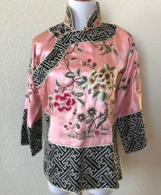 Antique Chinese Asian Heavy Embroidered Silk Kimono Geisha Jacket