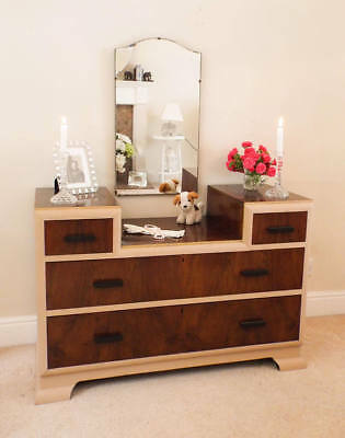 Figured Walnut Dressing table and mirror Antique Furniture 1920s painted