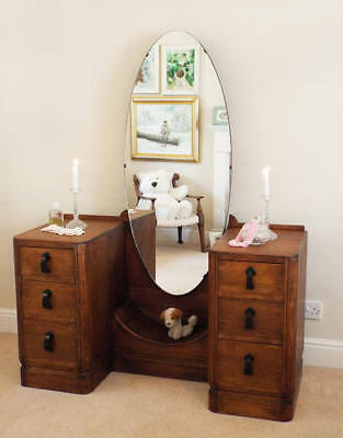 Antique oak Dressing Table 1920s 1930s Art deco with large cheval tilting mirror