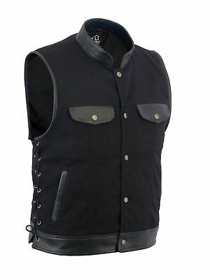 Men SOA Biker side lace leather trim denim waistcoat vest UK Stock free shipment