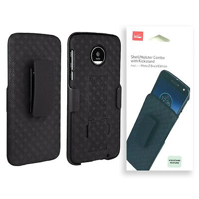 Verizon Shell Holster Combo Kickstand Case For Motorola Moto Z Droid - Black
