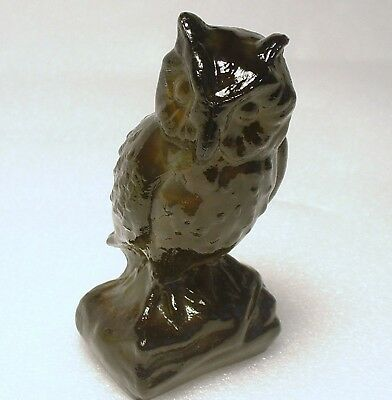Boyd Glass Black Walnut Slag Owl Figurine 1st color made 3-19-79 marked no lines