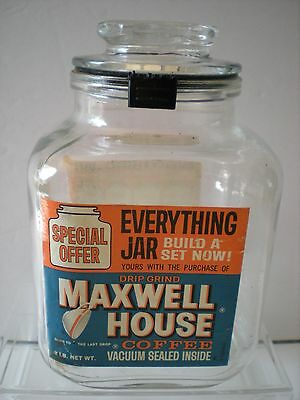 Vintage Maxwell House Coffee Square Glass Everything Jar Special Offer 1 lb