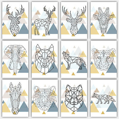 Geometric Animal Print Collection Greyscale Poster Wall Art Low Poly Triangular