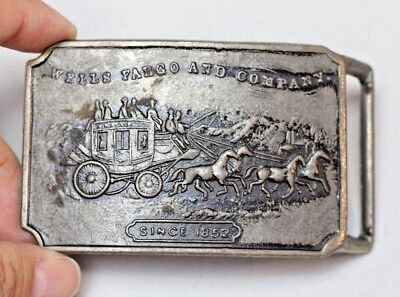 Vintage WELLS FARGO AND COMPANY Since 1852 Stage coach  Brass Belt Buckle