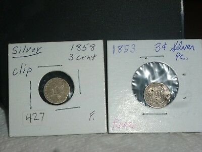 1853 & 1858 Silver Three Cent Piece Coins.