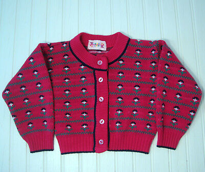 Vintage Baby Toddler Girls Clothes Pink Flowered Cardigan Sweater 24 Mo - 2T