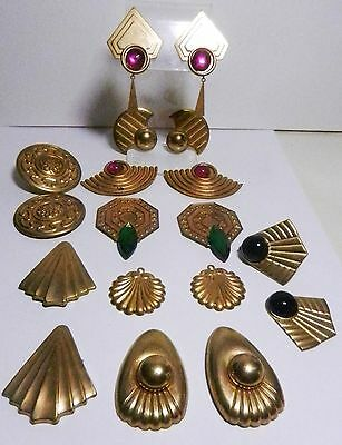 9 Pairs Vintage/New Embossed Brass Finished/Unfinished Earrings Findings