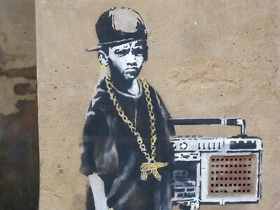 Banksy Framed Canvas Street  graffiti Urban  Art Print hip hop boy