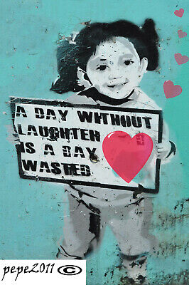 Banksy Framed Canvas Street graffiti Art Print a day without laughter painting