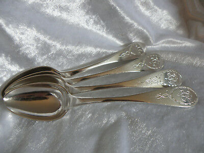Antique Russian 875 Silver Spoons Lot Of 4 Maker Is Zagayevsky Of Riga 1899-1916