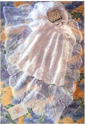 Baby Heirloom Christening Robe, Shawl, Shell edges KNITTING PATTERN 3ply-PDF 372