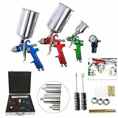 【Ships from CA】3 HVLP Air Spray Gun Kit Auto Paint Car Detail Basecoat Clearcoat
