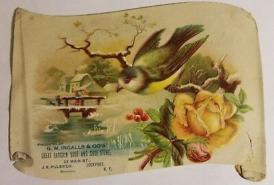 Antique Embossed Trade Card G.W. Ingalls & Co's Boot & Shoe Store Lockport NY