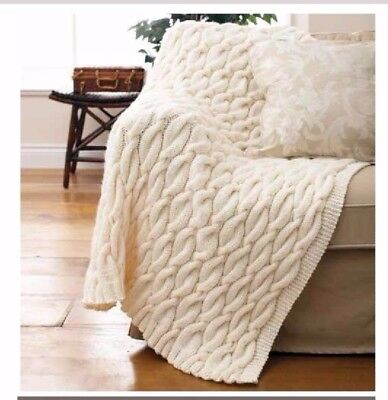 Shetland Chunky Cable Knit Throw Rug Knitting Pattern - PDF 604