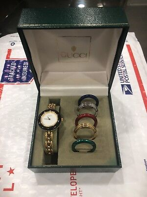 e589e1ac68a m 53665ed7fab83614b701d713 · vintage gucci swiss bracelet watch 7 interchangeable  bezels 1200 series 11 12 2 ...