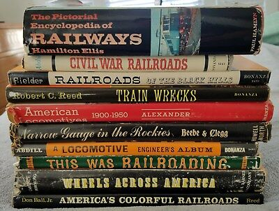 LOT of 10 Vintage Train Railroad Locomotive History Reference Books w/ Photos