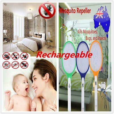Rechargeable LED Electric Bug Fly Mosquito Killer Swatter Zapper Racket CS