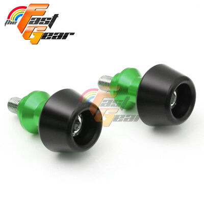 Green CNC Swingarm Spools Sliders Set Fit Kawasaki Ninja 1000 2014-2015