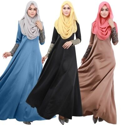 Women Muslim Abaya Islamic Kaftan Apparel Long Sleeve Maxi Dress Party Cocktail