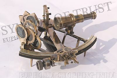Antique Nautical Solid Brass 9 Inches Sextant Vintage Working Astrolabe Marine