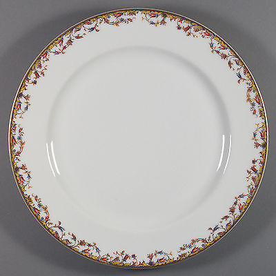 "Haviland Limoges Aurora Dinner Plate 9-5/8"" Floral Pattern Red Blue Gold Rim"