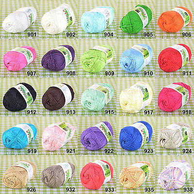 Lots of 50g Skein Super Soft Natural Bamboo Cotton Knitting Yarn,Lace -25 Colors
