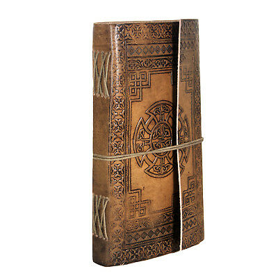 "Handmade Tanned Leather Journal Notebook Blank Pages with Metal Size : 9""x5""x1"""