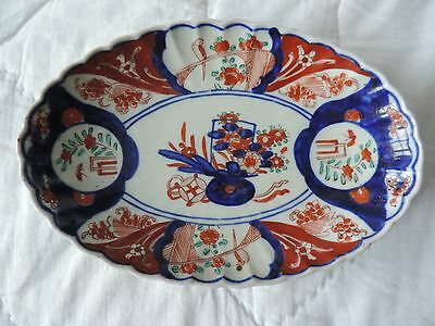 Antique Japanese 19th Century Imari Earthenware Porcelain Oval Shallow Dish ref4