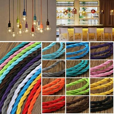 Twisted Silk Braided Vintage Fabric Coloured Lighting Cable Flex 2core 0.75mm UK