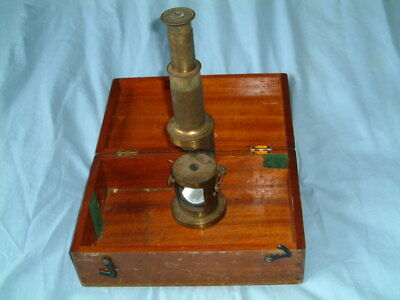 """Large 12"""" Antique VICTORIAN Lacquered Brass STUDENT MICROSCOPE In MAHOGANY BOX"""