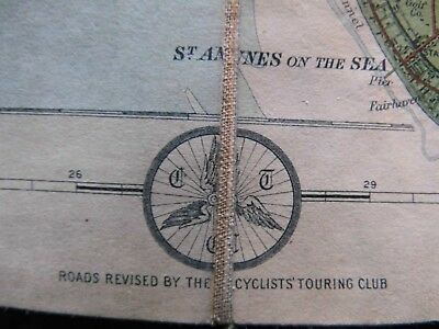 Isle Of Man-Lancashire-Antique Cycle Map:1919-Ctc&Bartholomew-Topographic Colour