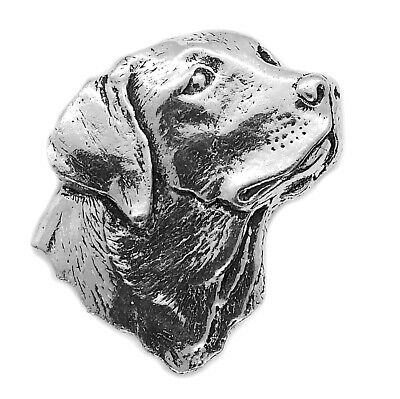 Labrador Retriever Dog Pin Badge Brooch English Silver Pewter in gift pouch