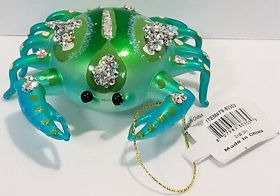 December Diamonds Blue Green Crab Glass Christmas Ornament Decoration 7980353
