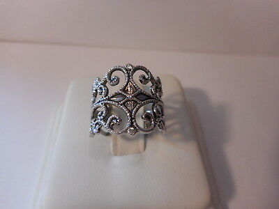 18KT GF Silver Tone Filigree Wide Band Ring Size 5