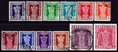 India Stamps. KGVI 1950-51 Service Stamps. SG O151 - SG O162. Used. #4438