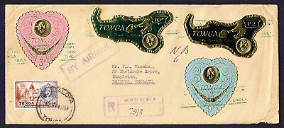 Map Salote Palace stamps on 1964 regd Tonga Cover Nukualofa to Bristol England