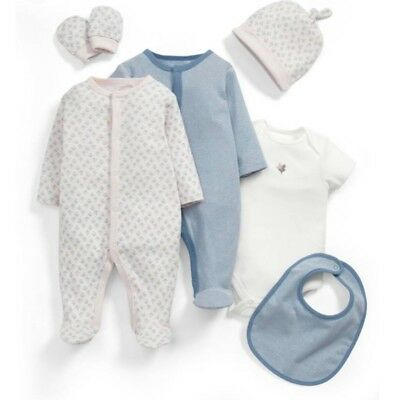 Brand New Mamas & Papas Baby Girl 6 piece sleepsuit gift Set In Size 0-3 Months
