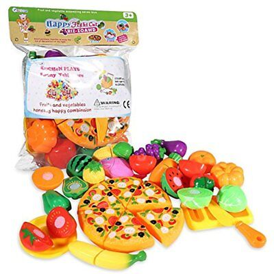Play Food, 24Pcs Cutting - Pretend Set, Kitchen Toy Fun Fruits And Veggies With