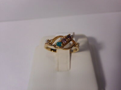 Purple Red Green Three Stone Gold Tone Ring With Accents Size 8 Sample Ring